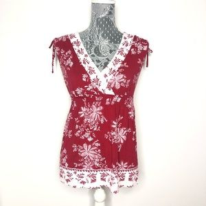 LOFT Top Red Blouse Floral Crossover V Neck XS